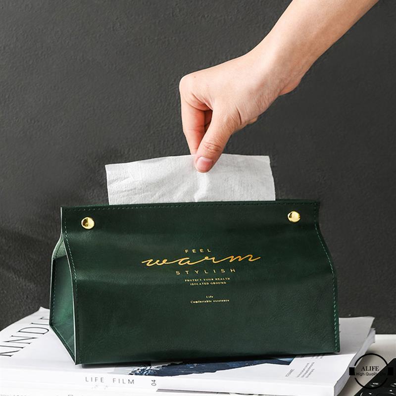 Alife 時尚皮革紙巾盒架抽紙盒分配器餐巾紙巾架