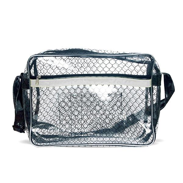 【反光條黑格紋透明側背包 SE-515G】高科技產業 斜背包 肩背包 工具包 工作包 抗靜電無塵室包