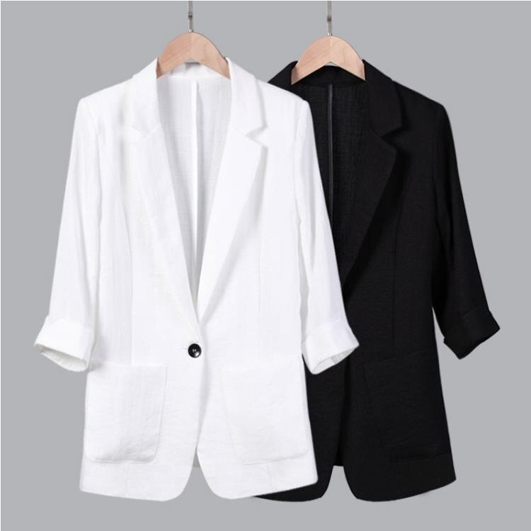 西裝外套 小西裝休閒薄棉麻修身七分袖亞麻大碼職業西服