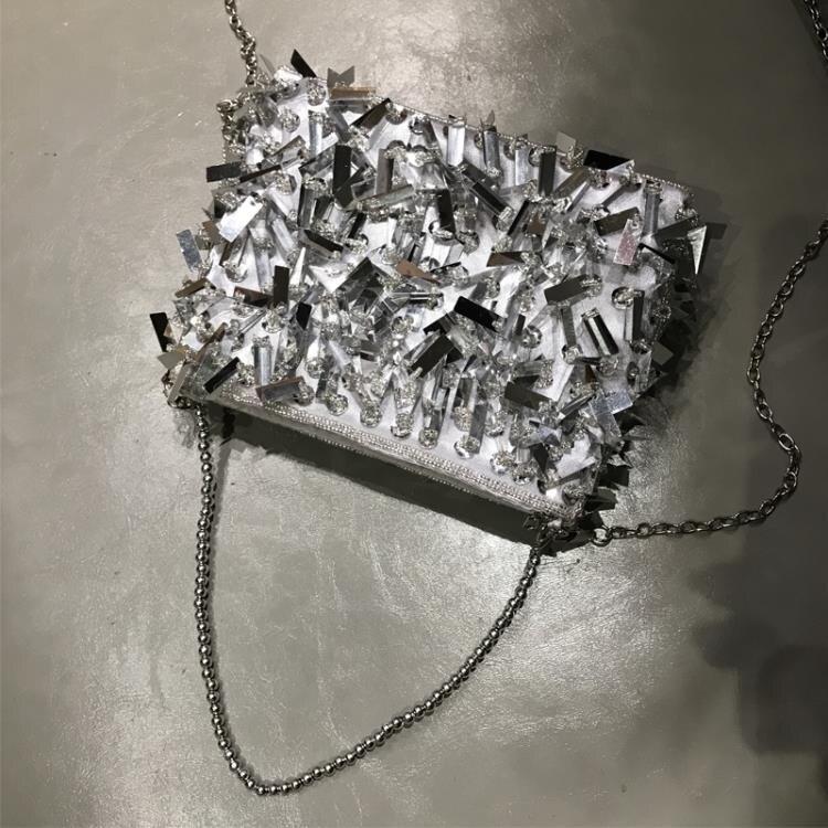 晚宴包 銀色亮片流蘇手提包宴會斜挎2020新款禮服閃亮小包