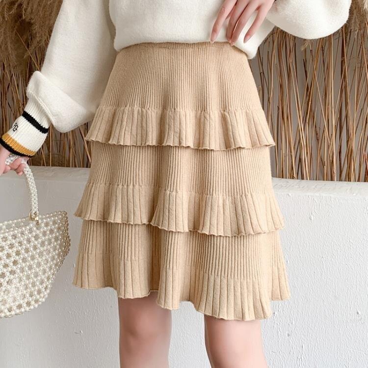 蛋糕裙 2020秋季新款時尚女裝針織半身裙女百褶短裙a字蛋糕裙顯瘦蓬蓬裙