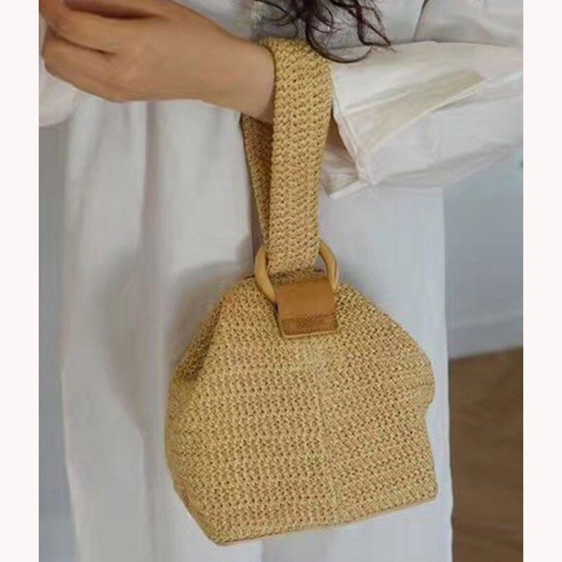 草編包 韓國包包圓環扣可愛編織籃子手拎包小方包草編包