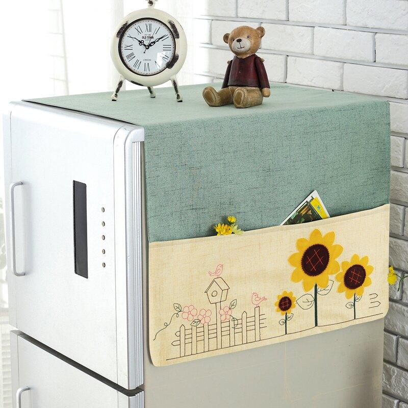 冰箱布蓋 冰箱冰櫃防塵罩 冰箱蓋布帶兜防塵罩布藝冰箱罩套單對雙開門家用棉麻韓版式小清新【xy6293】