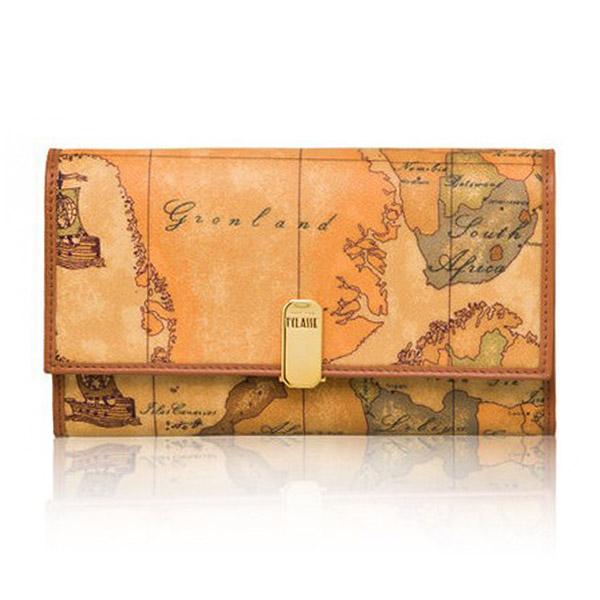 【Alviero Martini 義大利地圖包】夾式16+8卡零錢長夾(大)-地圖黃