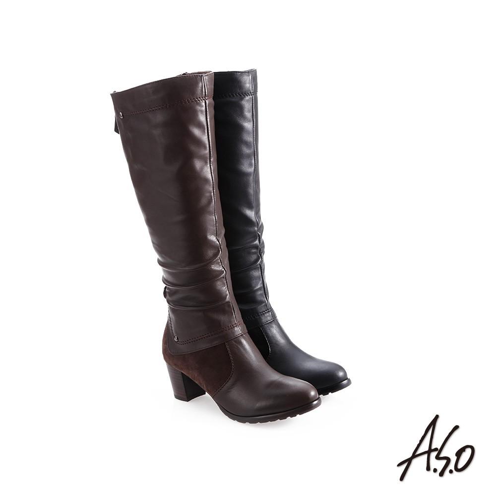 【A.S.O阿瘦】簡約風格-抓皺皮革長靴-咖啡/黑
