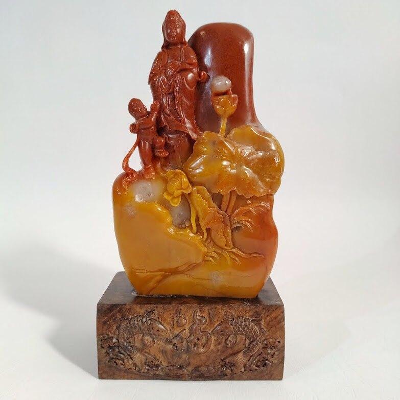 老挝石雕童子拜觀音[吉祥如意]擺件 (16X9cm)