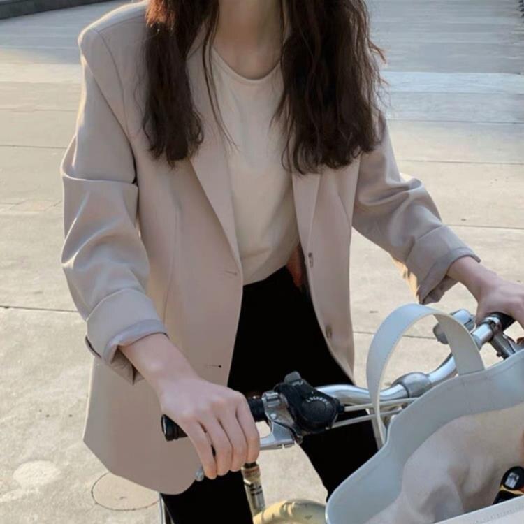 西裝外套 網紅春秋季新款韓版西裝外套女休閒寬松chic粉色小西服兩件套裝裙 家家百貨