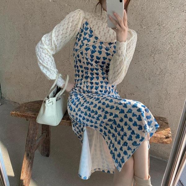 連身裙 吊帶洋裝女秋冬季碎花絲絨中長裙2020氣質收腰內搭打底裙子-Milano米蘭