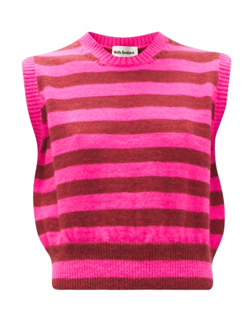 Molly Goddard - Claus Striped Lambswool Sweater Vest - Womens - Pink