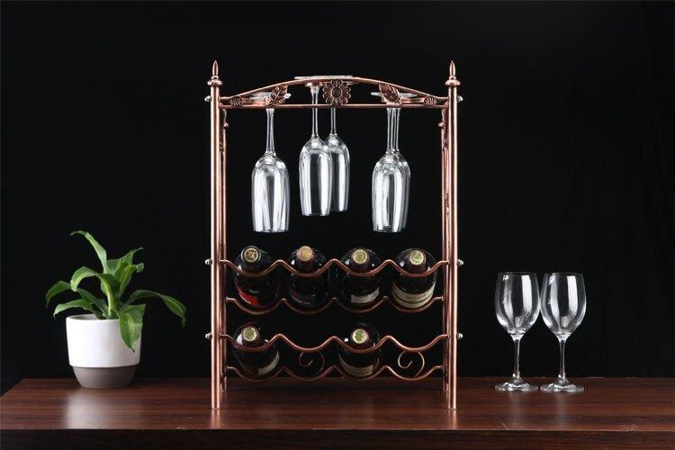 高檔酒架古銅色雙層葡萄酒架 新款高檔歐式創意紅酒杯架酒架1入