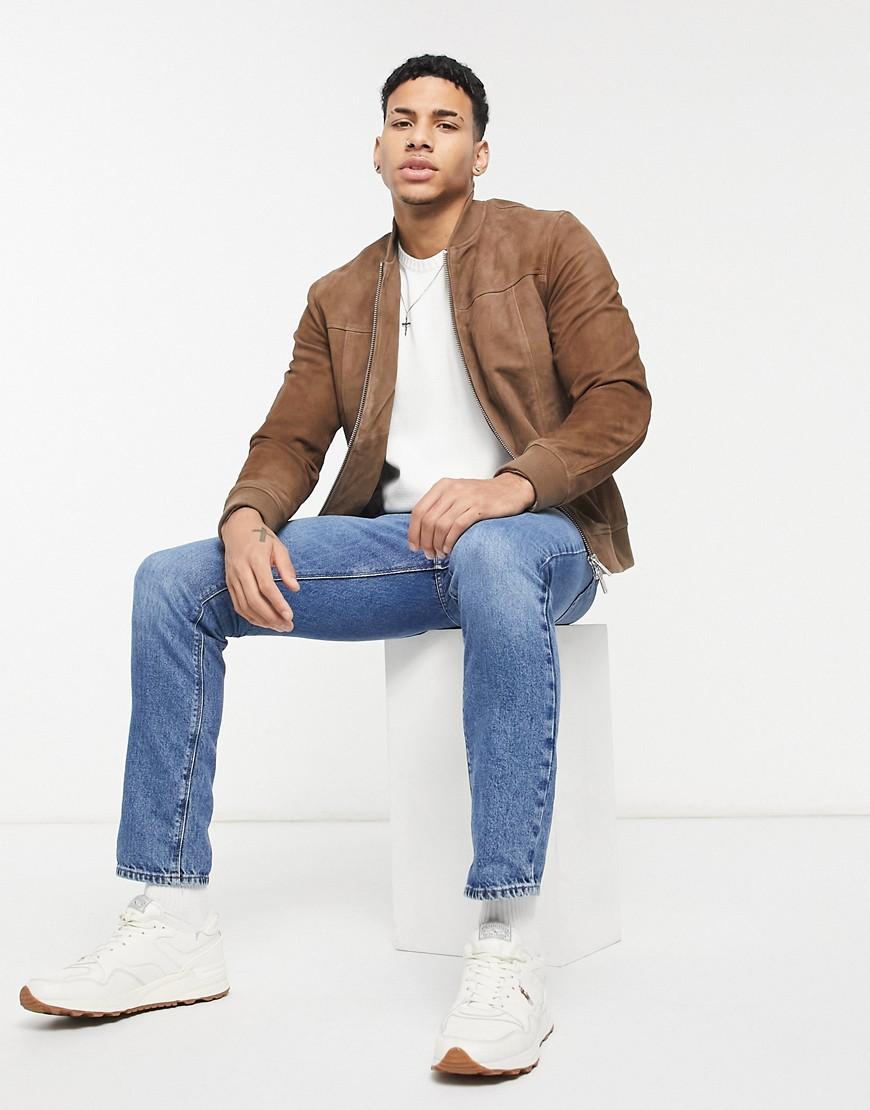 Selected Homme suede jacket in tan-Brown