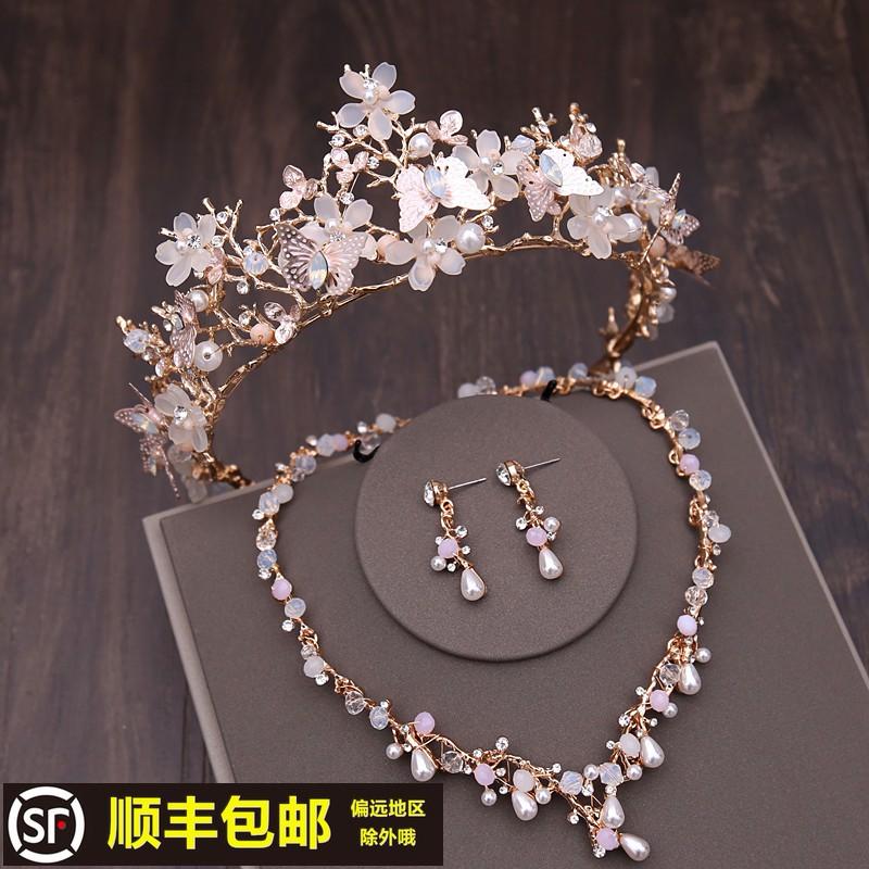 新娘頭飾2020新款結婚皇冠婚紗禮服大氣三件套發飾套裝婚禮配飾品