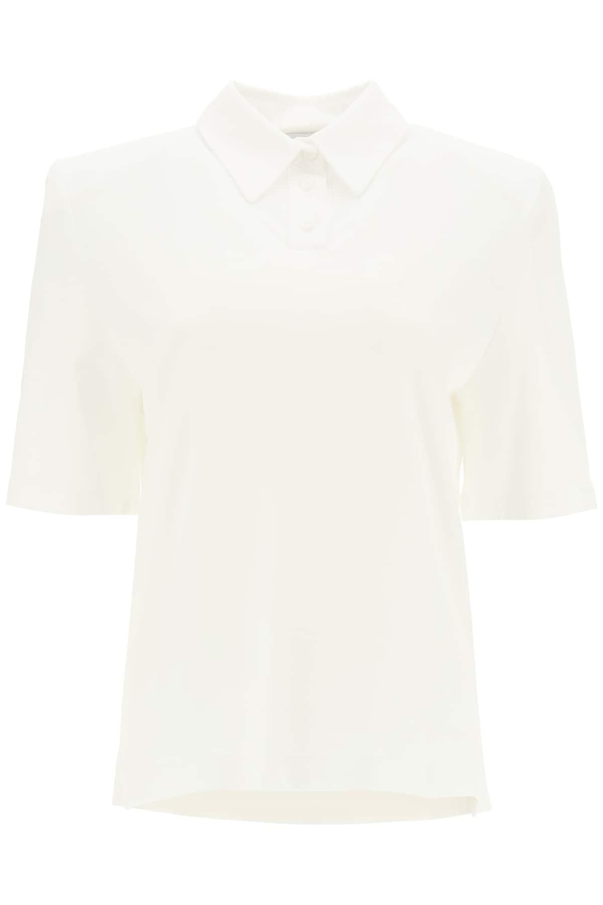 THE ATTICO ASTRID POLO SHIRT WITH LOGO EMBROIDERY 38 White Cotton