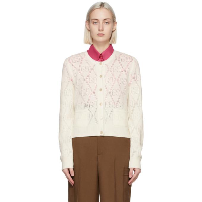 Gucci 灰白色 GG 羊毛开衫