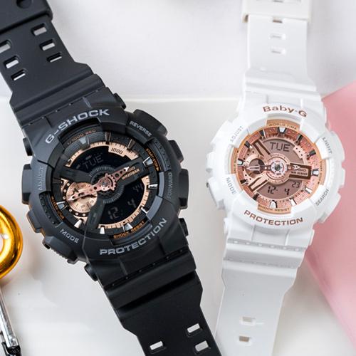 【2.14情人錶 下單抽・富士山杯】G-SHOCK x BABY-G 率性魅力運動情人對錶/黑金x白金 GA-110RG-1ADR+BA-110-7A1DR 情侶對錶 熱賣中!