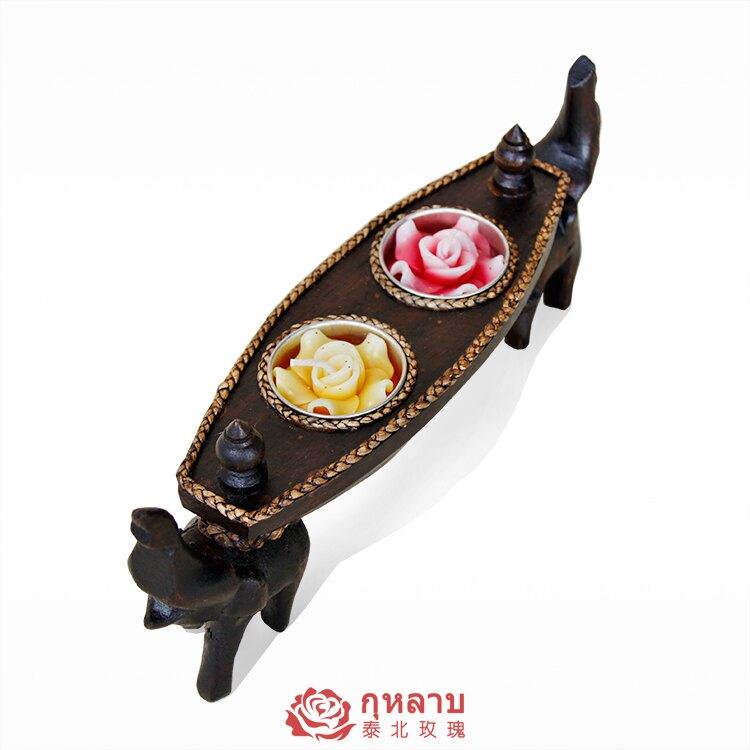 泰國芒果木東南亞佛手蠟燭臺手工藝品家居裝飾品新古典禮品小擺件1入