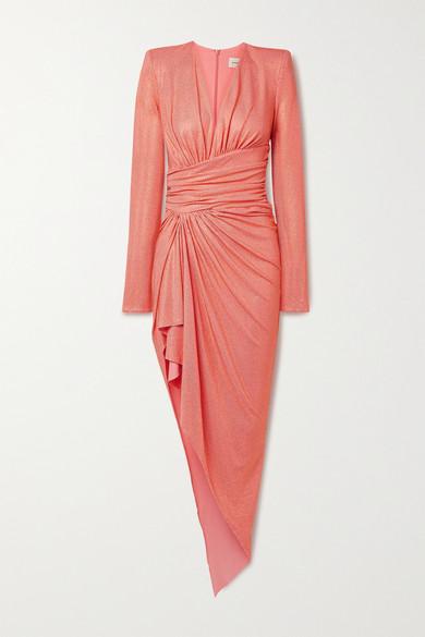 Alexandre Vauthier - 不对称褶饰水晶缀饰弹力绉纱连衣裙 - 珊瑚色 - FR34