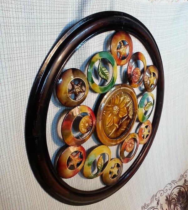 美式鄉村純手繪鐵藝花朵墻飾壁飾/酒店餐廳客廳軟裝背景墻 創意1入