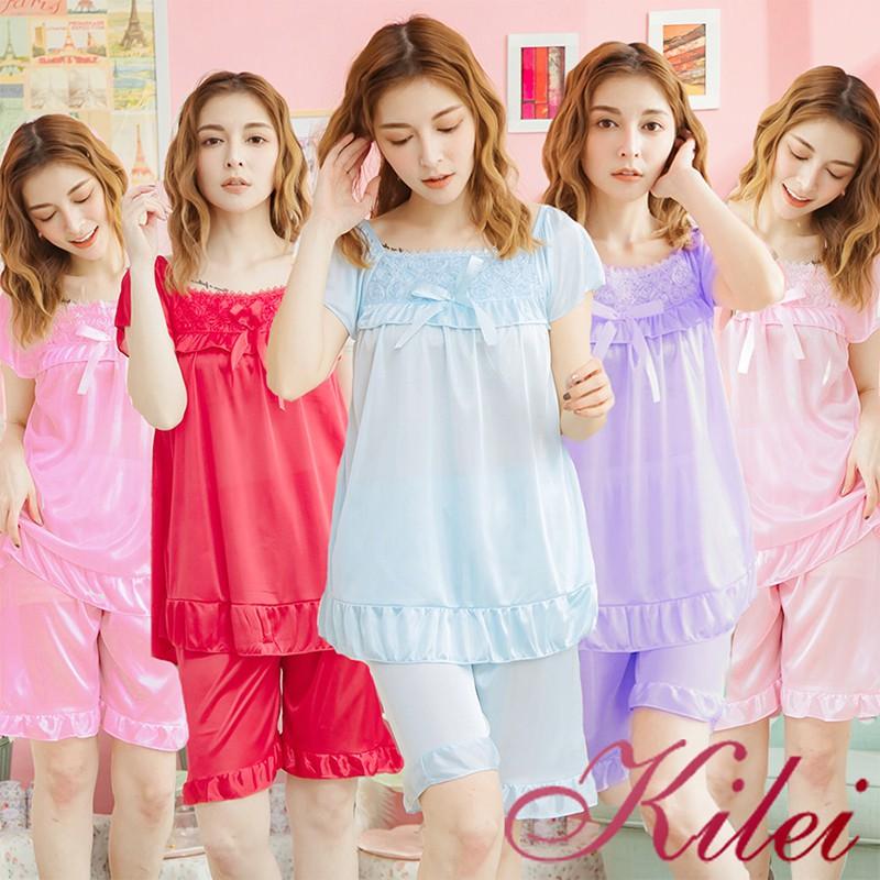 Kilei 夏天女生居家服立體花朵蝶結冰絲舒適短袖成套睡衣XA3631(共五色)全尺碼 廠商直送
