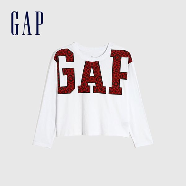 Gap女童 Logo創意圓領長袖T恤 656245-白色