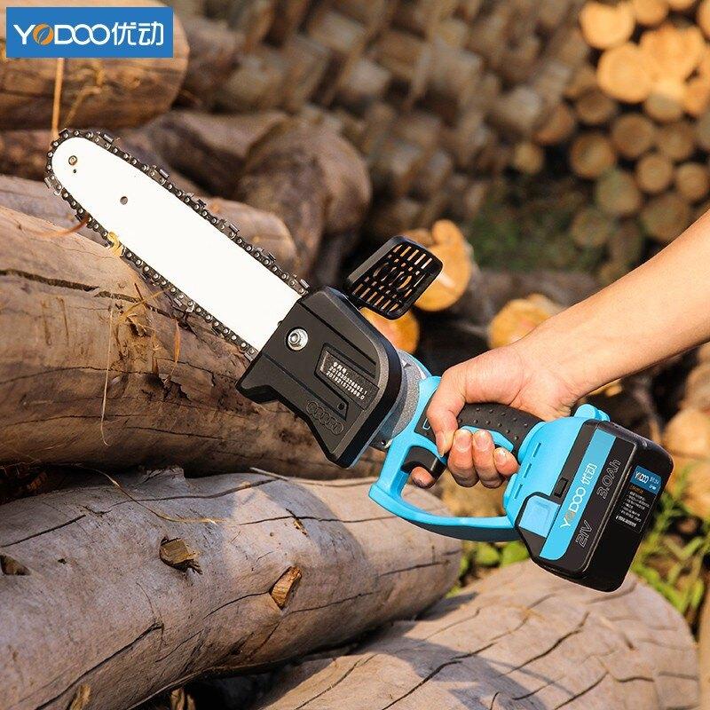 新店五折 電鏈鋸 充電式 無線鋰電 砂輪機 軍刀鋸  鏈鋸 電鋸 優動小型單手電鋸家用充電式砍柴伐木鋸多功能手持