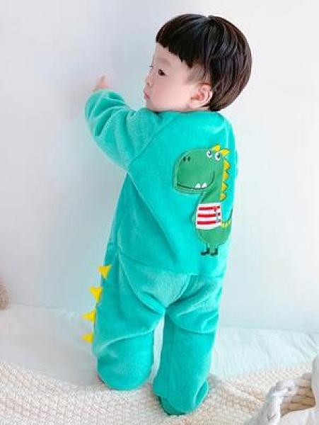 秋冬季兒童連身睡衣法蘭絨加厚男童嬰兒睡袋珊瑚絨寶寶加絨防踢被