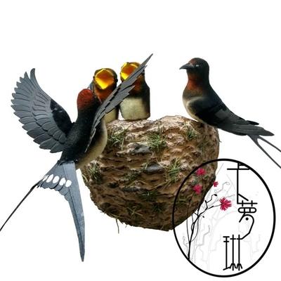 展翅飛燕 仿真小燕子鳥燕子窩燕巢鳥窩幼兒園家居裝飾品燕子模型1入