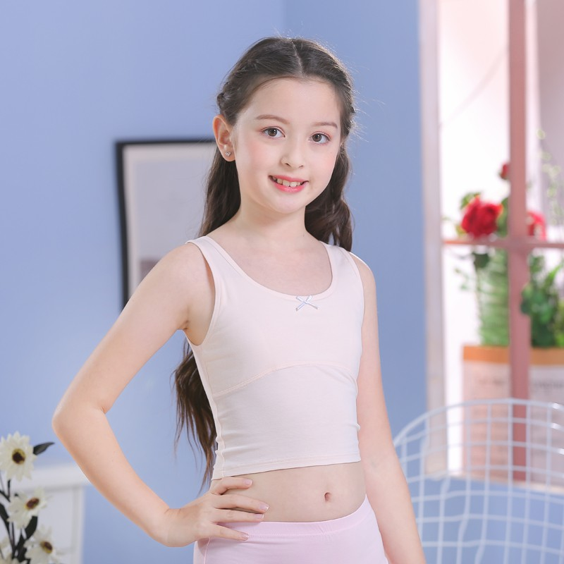 KHW 剛發育少女短版內衣針織 bra學生型背心上衣衣著成長型鋼圈露肚臍長版壹件裝滿額免運