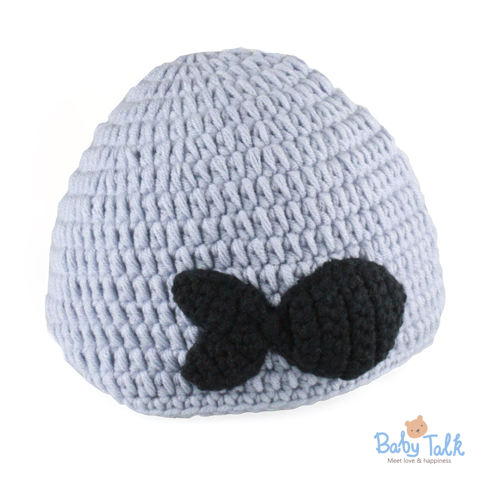 Baby Talk 造型手工編織帽-小魚紫灰 (S)