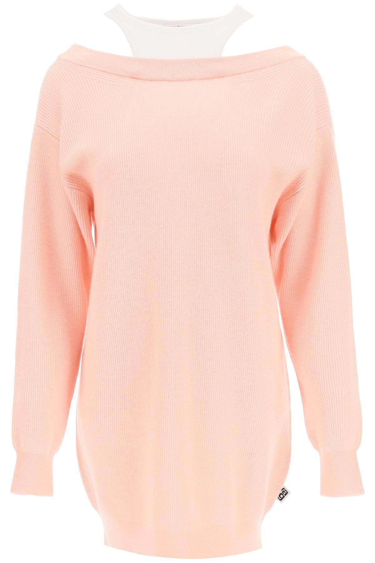 ALEXANDER WANG OFF-SHOULDER WOOL DRESS XS Pink, White Wool, Cotton