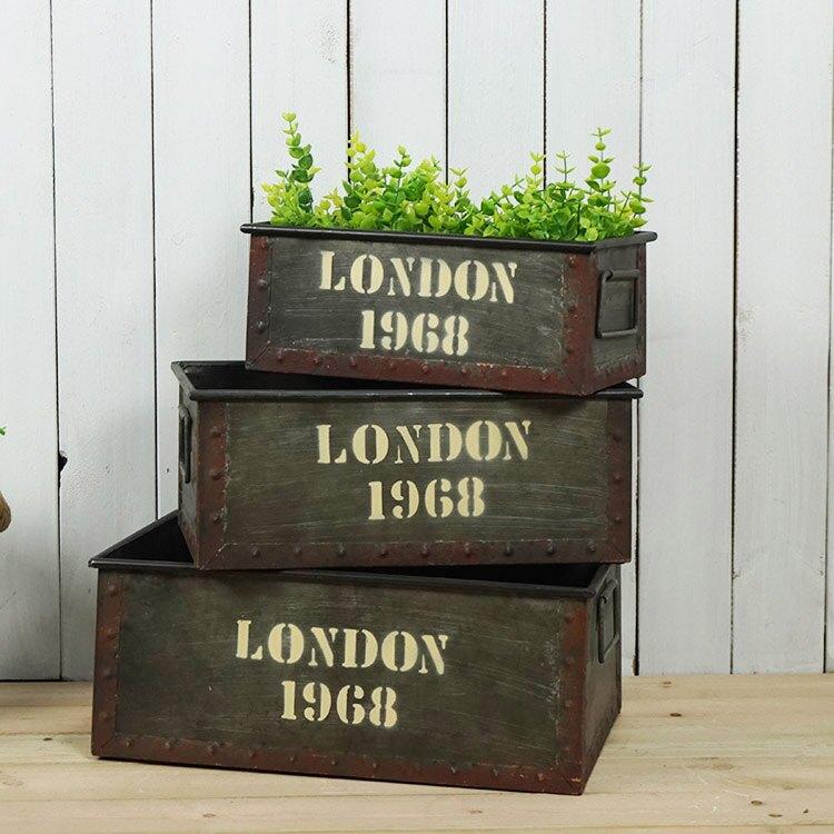 家居裝飾鐵藝做舊花盆 LOFT風格英文字母鐵藝花器 三件套1入