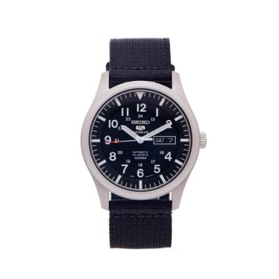 SEIKO 盾牌5號的帆布錶帶機械手錶(SNZG15K1)-黑面x黑色/42mm