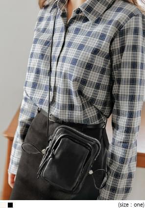 韓國空運 - 抽繩設計拉鍊迷你肩背包