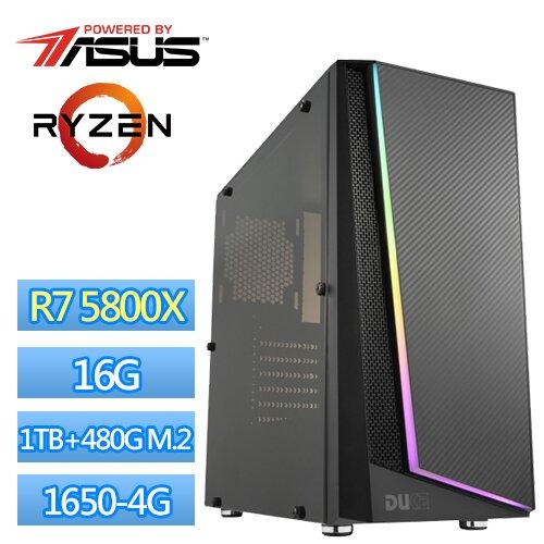 華碩B550平台【邪帝封印】R7八核獨顯電玩機(R7-5800X/16G/1TB/480G M.2 SSD/GTX1650-4G)