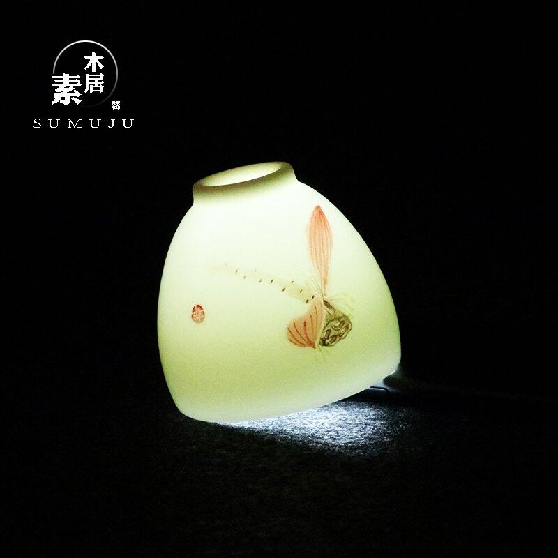 羊脂玉瓷手繪茶杯德化白瓷手工個人杯品茗杯陶瓷主人杯單杯禮品1入