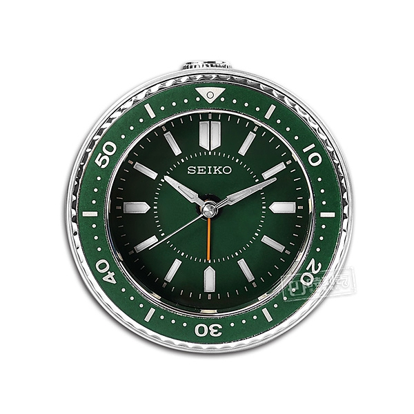 SEIKO 精工 / 潛水錶造型 滑動式秒針 燈光照明 貪睡鬧鈴 指針靜音鬧鐘 - 綠色 #QHE184M