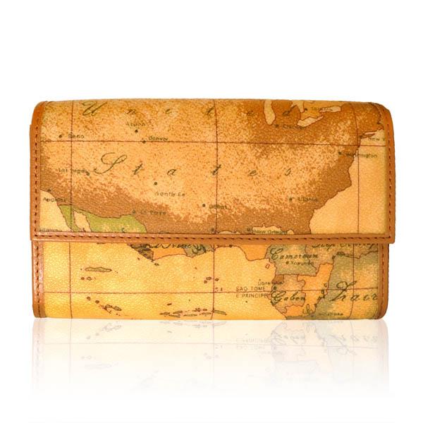 【Alviero Martini 義大利地圖包】扣式12卡零錢中長夾-地圖黃