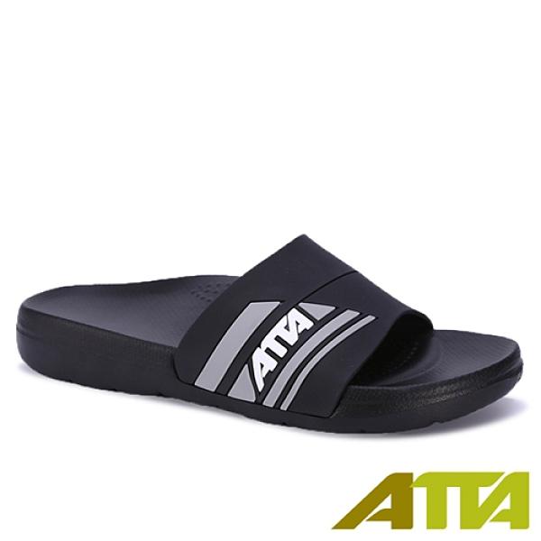 ATTA 運動風圖紋室外拖鞋91014-黑(25~28cm)【愛買】