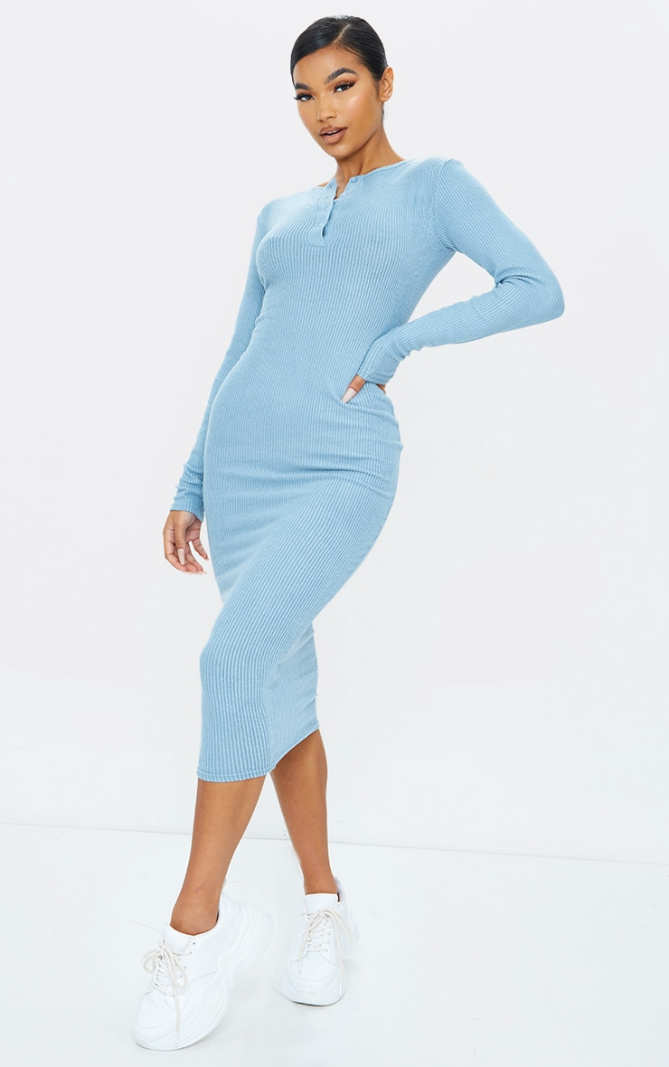 Steel Blue Brushed Rib Button Front Midaxi Dress