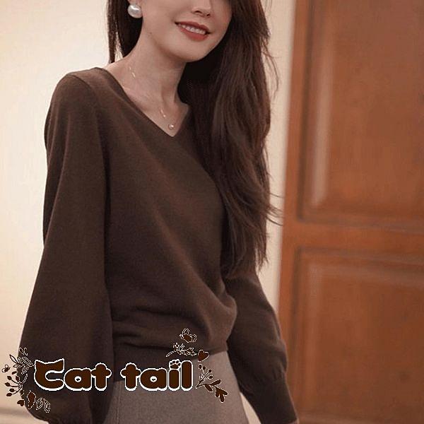《貓尾巴》BS-0085 全羊毛針織長袖上衣(森林系 日系 棉麻 文青 清新)