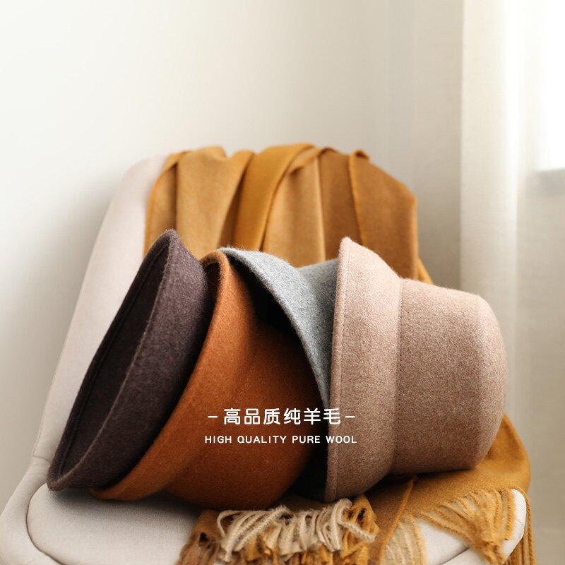 赫本毛呢帽子女秋冬韓版復古鐘形盆帽黑色漁夫帽優雅法式羊毛禮帽1入