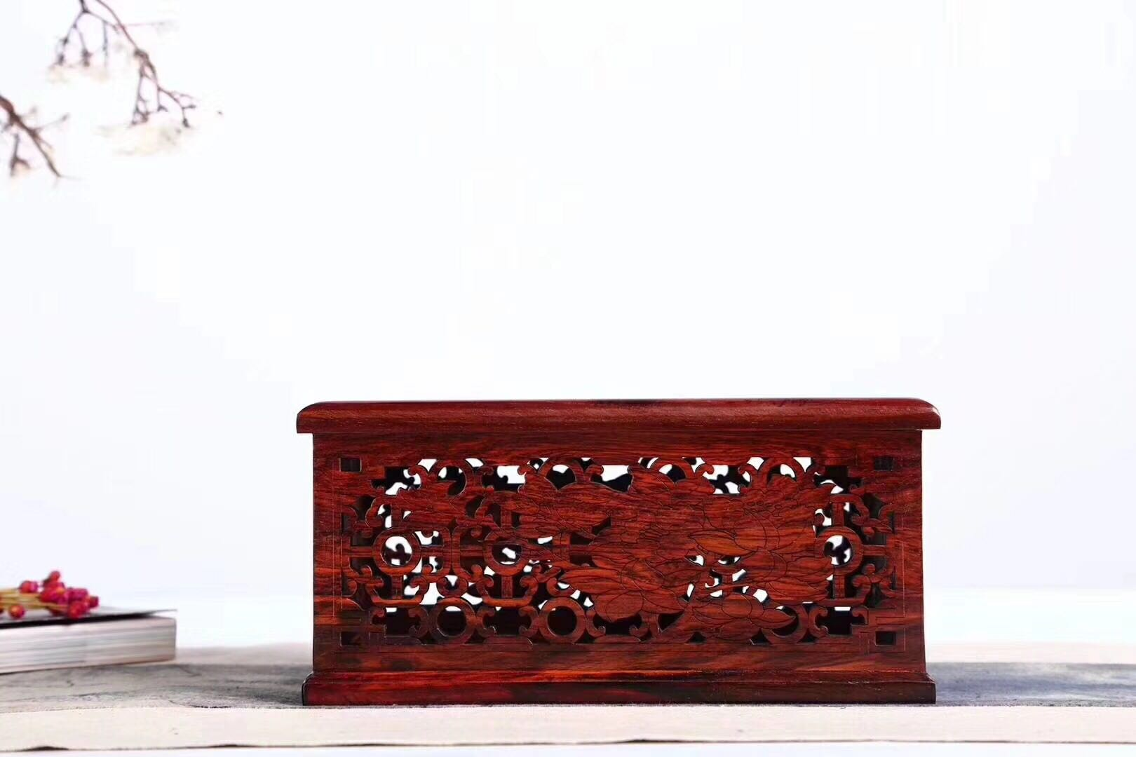老撾大紅酸枝鏤空家合紙巾盒客廳實木加大抽紙盒紅木中式復古家居1入
