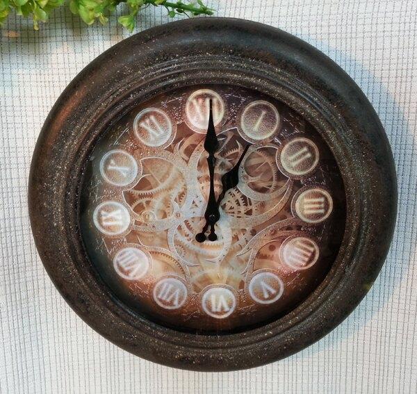 時尚田園掛鐘歐式靜音客廳鐘表創意藝術石英掛鐘鐵藝復古時鐘掛表1入