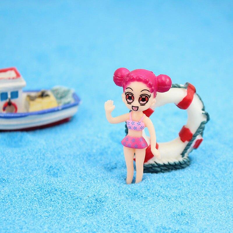 創意卡通裝飾品魚缸裝飾小擺件卡通人物造景套餐救生圈微景觀裝飾1入
