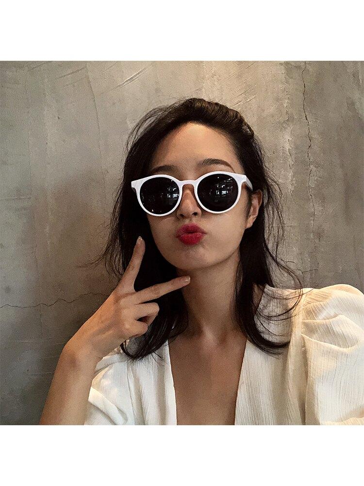 墨鏡女復古風網紅港味韓版潮ins街拍2019新款大臉圓臉太陽鏡眼鏡1入
