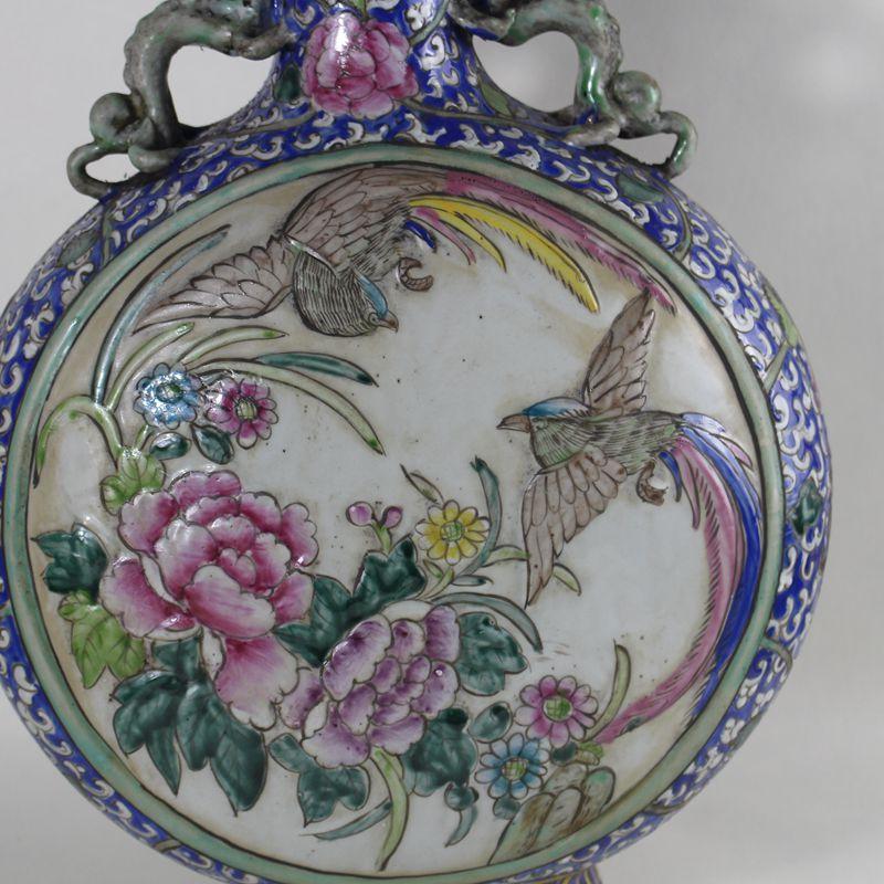 景德鎮仿古瓷 清乾隆年制浮雕粉彩鳳凰紋扁瓶 古玩古董收藏擺件1入