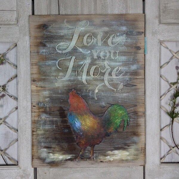 美式鄉村復古做舊手繪公雞立體油畫 裝飾畫 墻上壁畫實木裝飾品1入