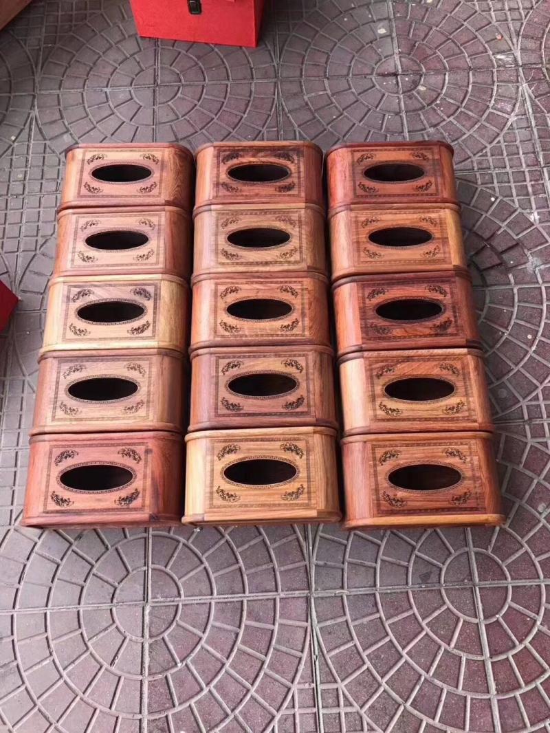 緬甸花梨非獨板餐巾盒實木抽紙盒抽拉款紅木客廳擺件新中式紙巾盒1入