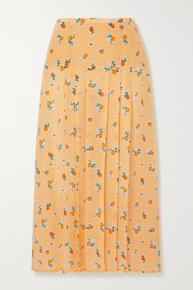 RIXO - Nancy 褶裥花卉印花真丝绉纱中长半身裙 - 黄色 - large