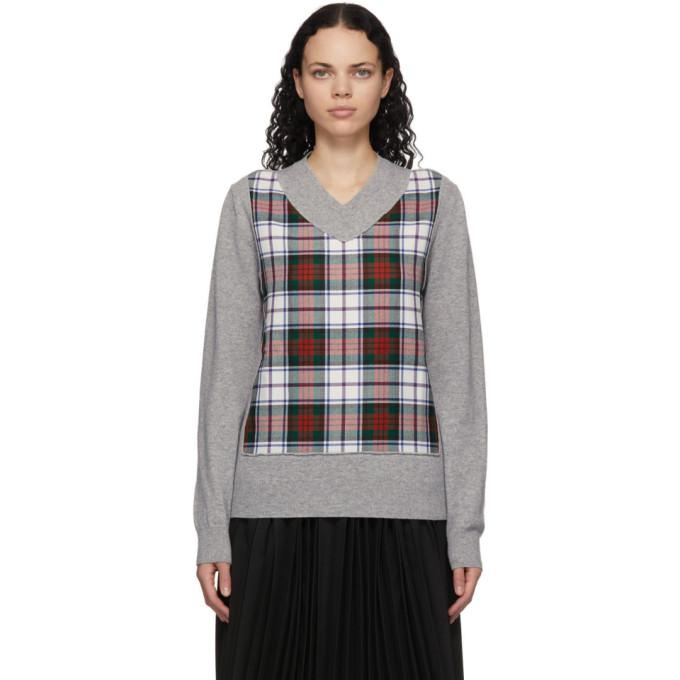 Comme des Garcons Shirt 灰色格纹 V 领羊毛毛衣
